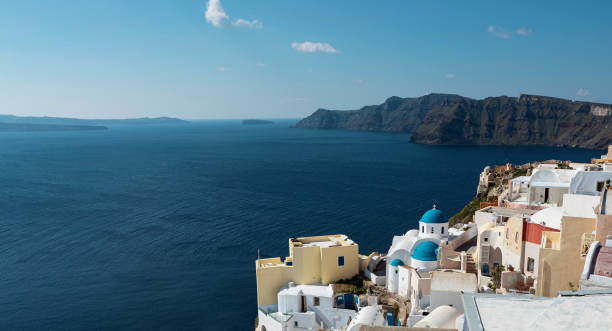Santorini Village view stock photo