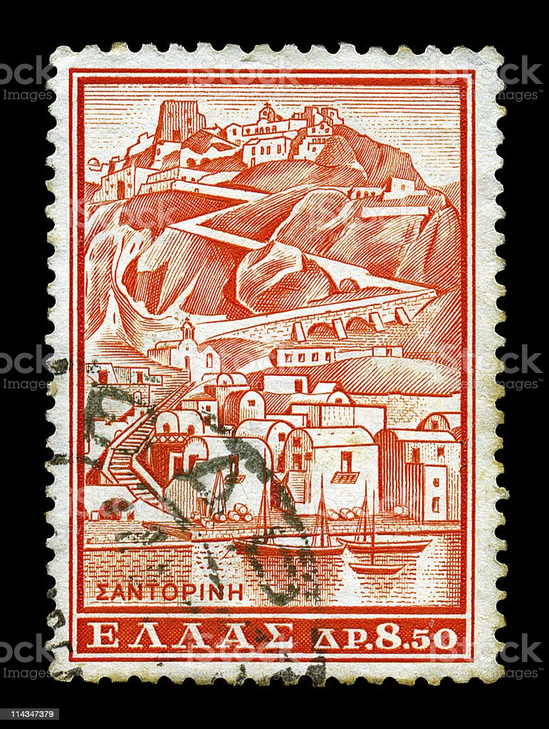 santorini vintage postage stamp royalty-free stock photo