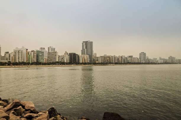 Santos, SP, Brazil - Gonzaga Beach in a fresh morning
