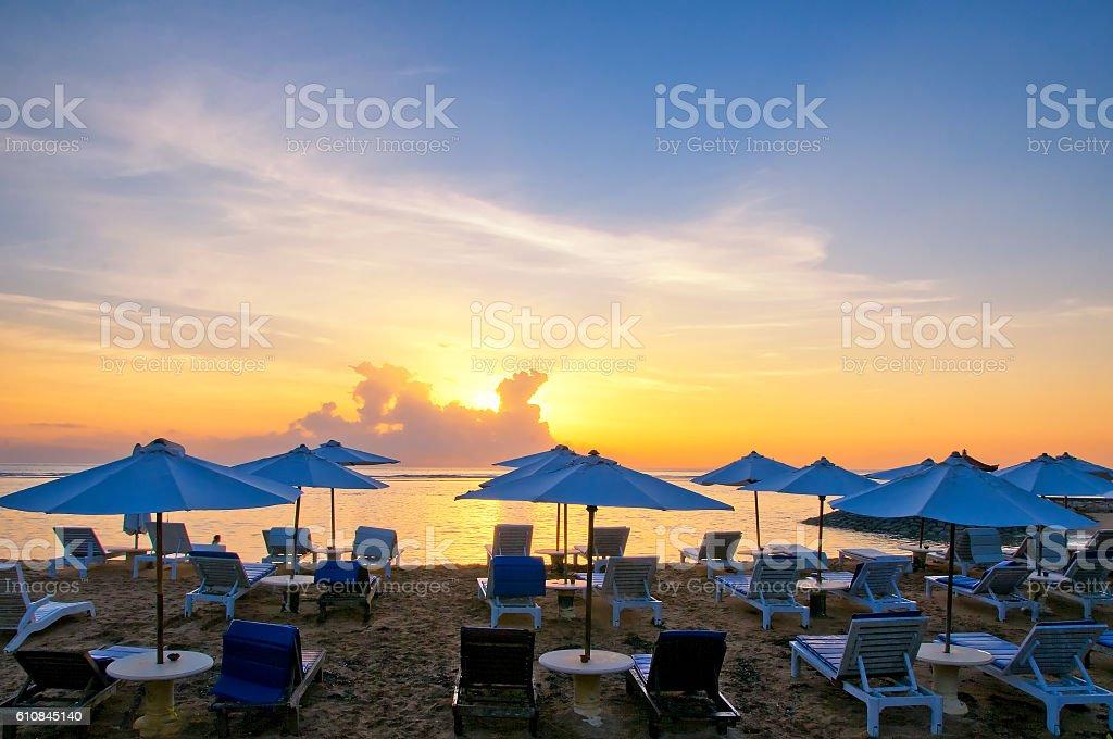 Sanur Beach at sunrise, Bali, Indonesia stock photo