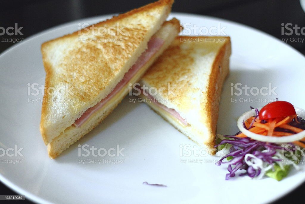 Sanwich ham&cheese with honey sauce royalty-free stock photo