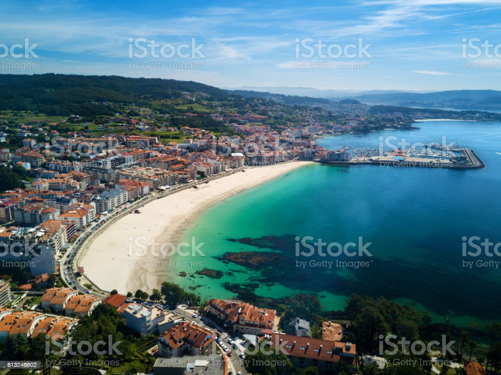 Sanxenxo beach in the Rias Baixas in Pontevedra stock photo