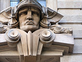São Paulo, Brazil: head of the god Mercury with his winged hat (petasos) - old court building on Pátio do Colégio square - Art Déco style - First Court of Civil Jurisdiction / Primeiro Tribunal da Alçada Civil - architect Felisberto Ranzini, of the Ramos de Azevedo bureau - opened in 1937 as the Stock Exchange headquarters; later it housed the State Agriculture Bureau - photo by M.Torres