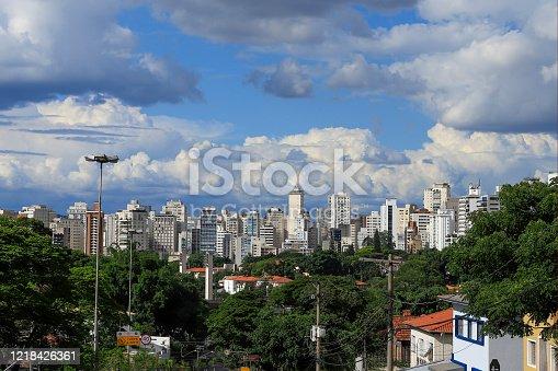 Skyline of Sao Paulo city with blue sky and clouds. Sao Pauo, Brazil