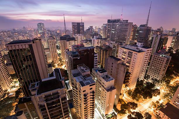 sao paulo city at night - sao paulo - fotografias e filmes do acervo