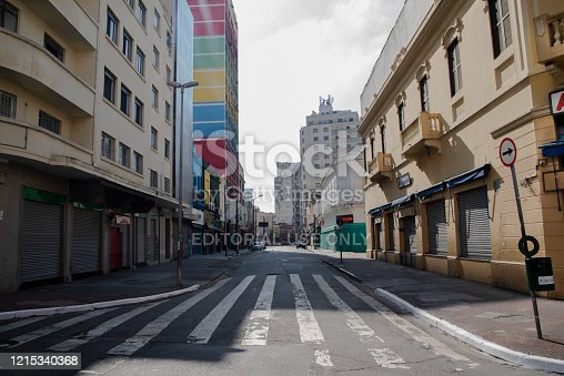 Brazil - Sao Paulo 03/28/2020 Corona Virus Outbreak. Once known as very crowded part of the Sao Paulo City, Rua 25 de marco  is empty due to the quarantine
