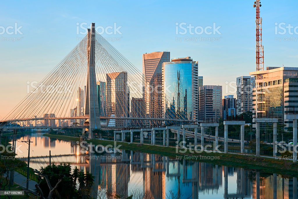 Sao Paulo Estaiada Bridge Brazil stock photo