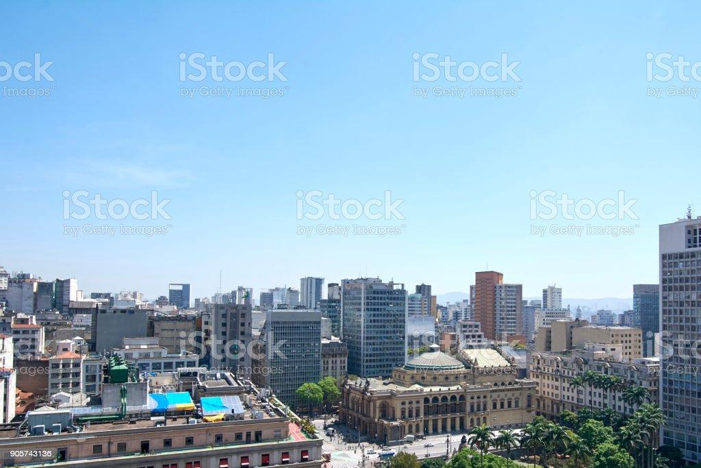 Sao Paulo municipal theater, buildings in Sao Paulo city, Brazil stock photo