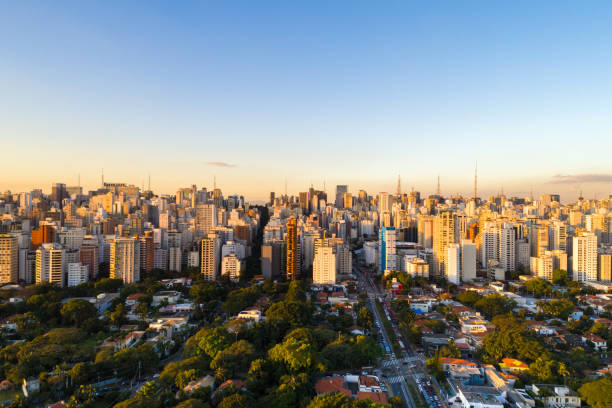 Sao Paulo skyline, Brazil Aerial view Collection urban sprawl stock pictures, royalty-free photos & images