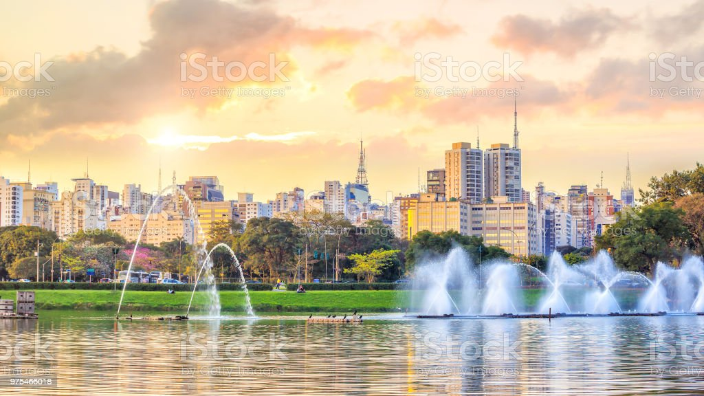 Sao Paulo skyline from Parque Ibirapuera park stock photo