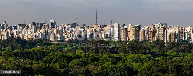 Panoramic skyline of the city of São Paulo, including several sights such as the Ibirapuera Park and Paulista Avenue.