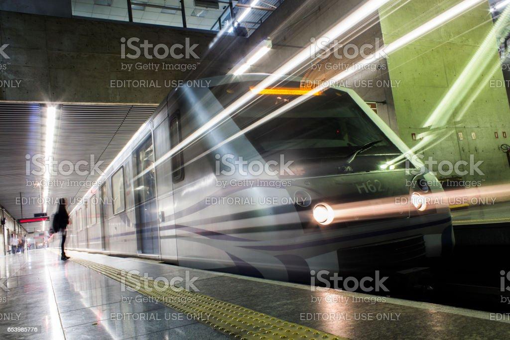 Sao Paulo subway train leaving the plataform station at Tatuapé stock photo