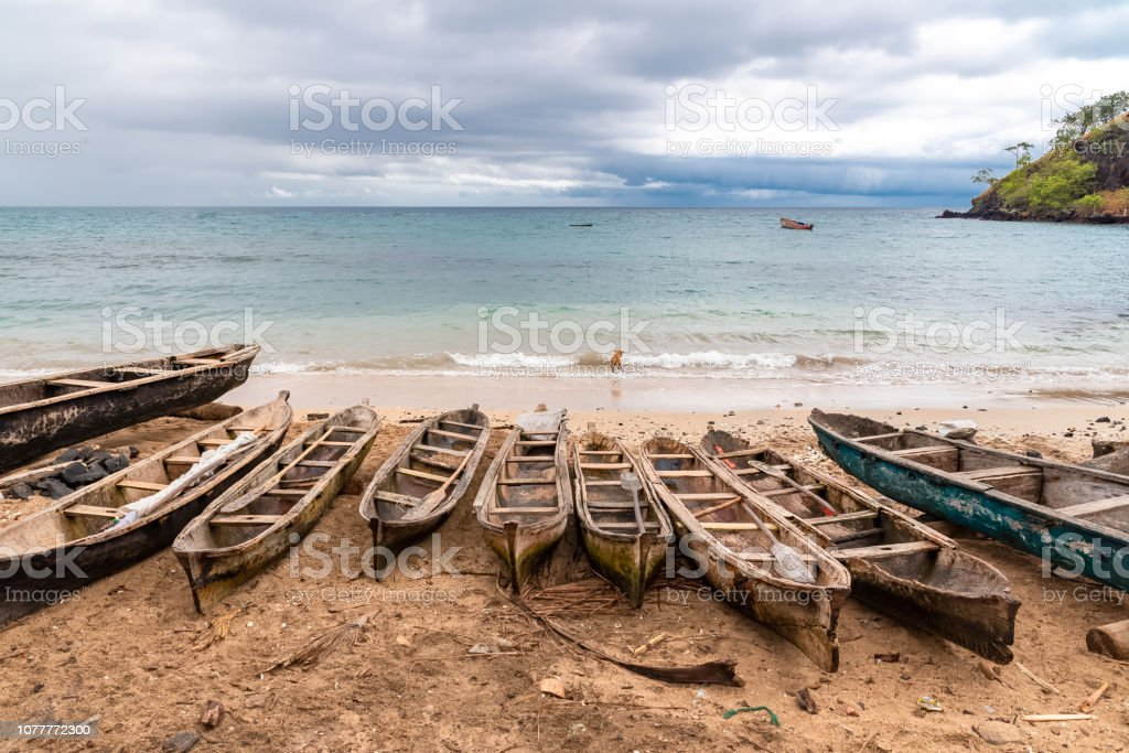 Sao Tome, traditional dugouts stock photo