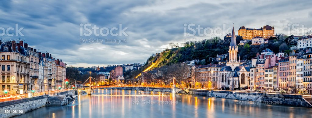 Saone river in Lyon city at evening stock photo