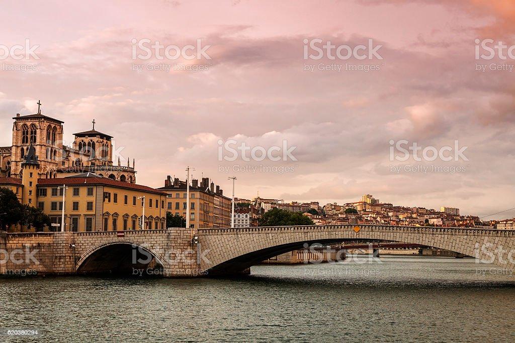 Saone River in Lyon zbiór zdjęć royalty-free