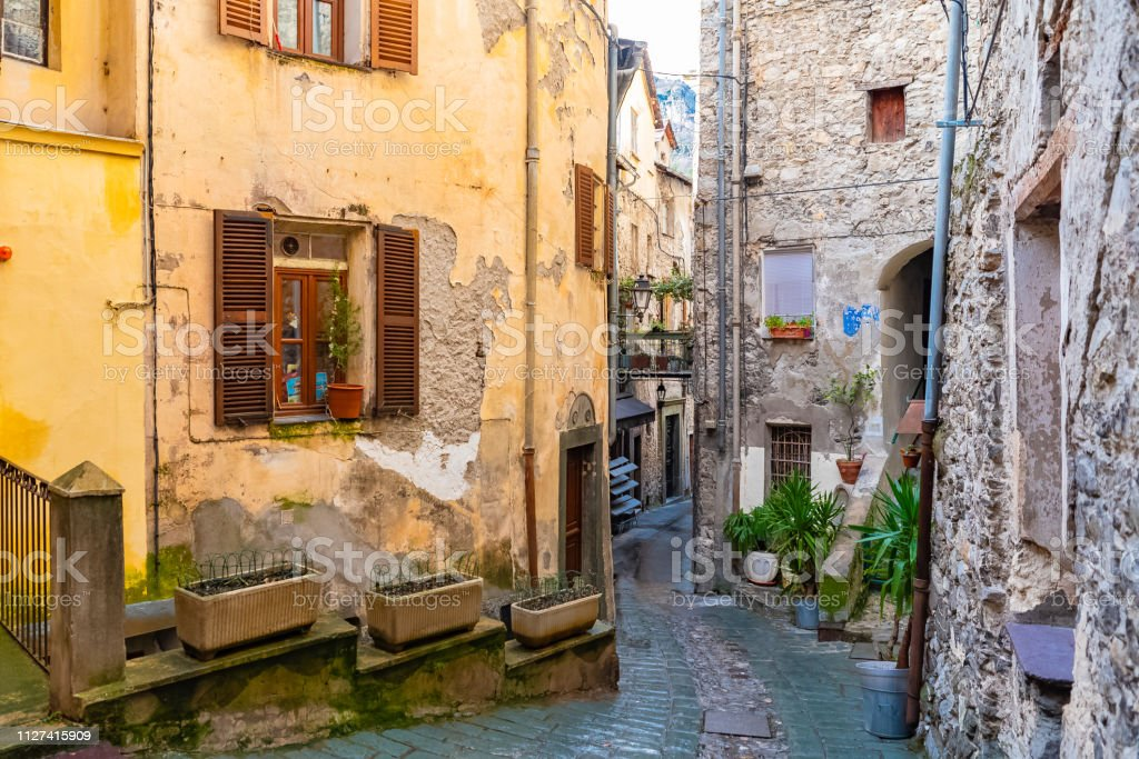 Saorge, beautiful village stock photo