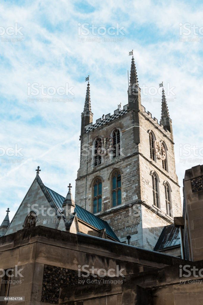 Saouthwark cathedral lies on the south bank of the River Thames close to London Bridge stock photo