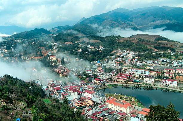 Sapa in the mist, lao cai, vietnam. Sapa is favorite  travel town in northwest of Vietnam huế stock pictures, royalty-free photos & images