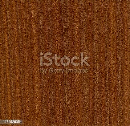Close up of sapele wood veneer, Entandrophragma cylindricum.
