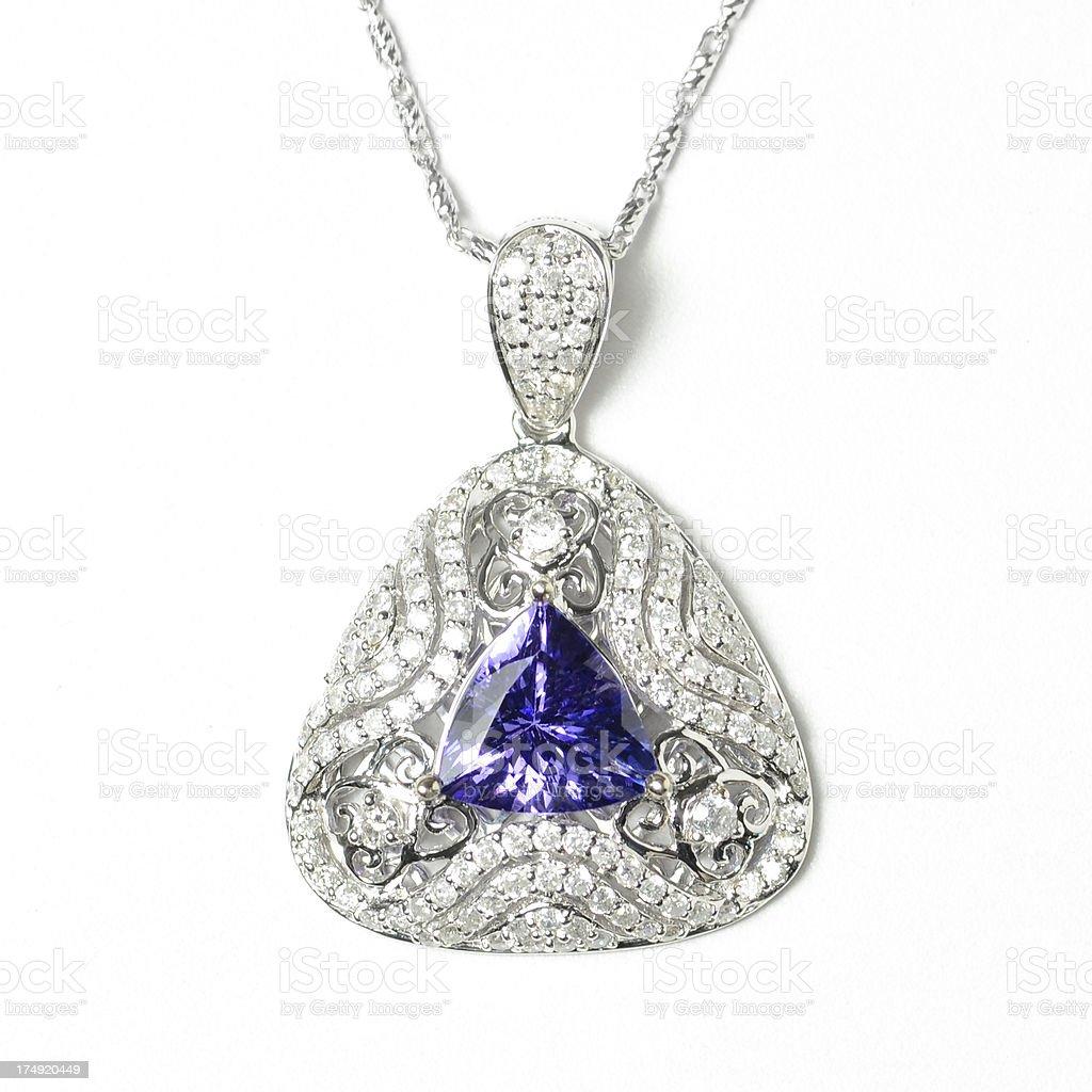 Sapphire and Diamond Pendant Necklace stock photo