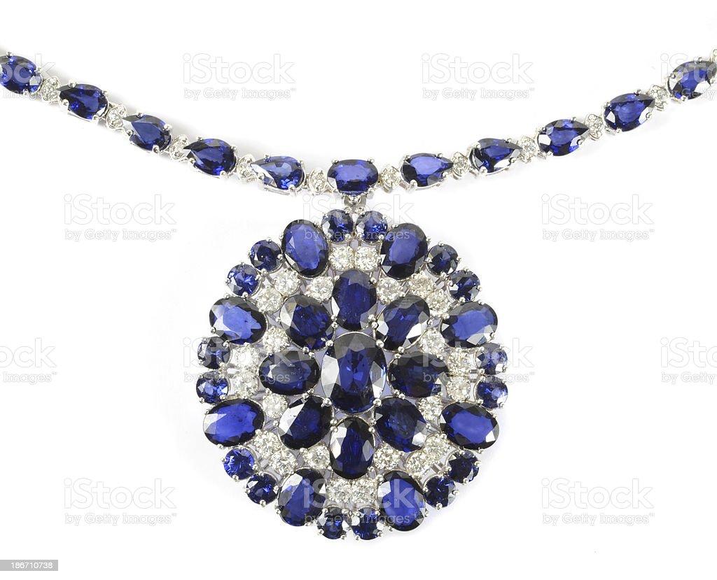 Sapphire and Diamond Pendant Necklace royalty-free stock photo
