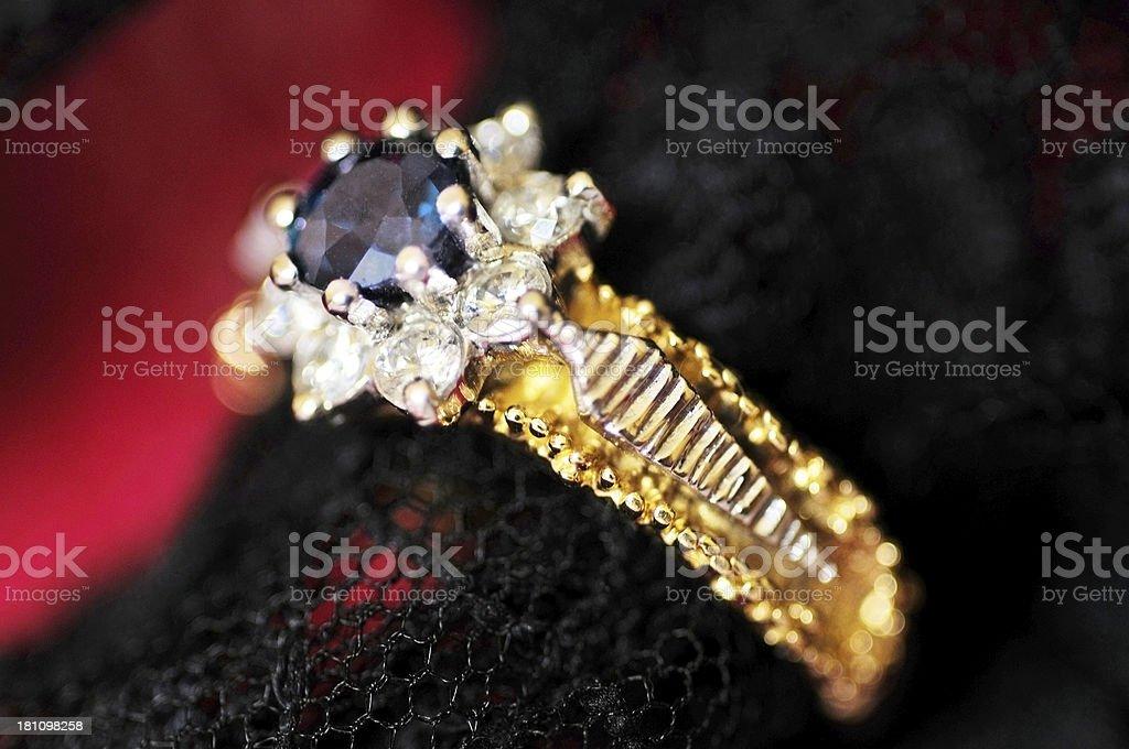 Sapphire and diamond ring royalty-free stock photo