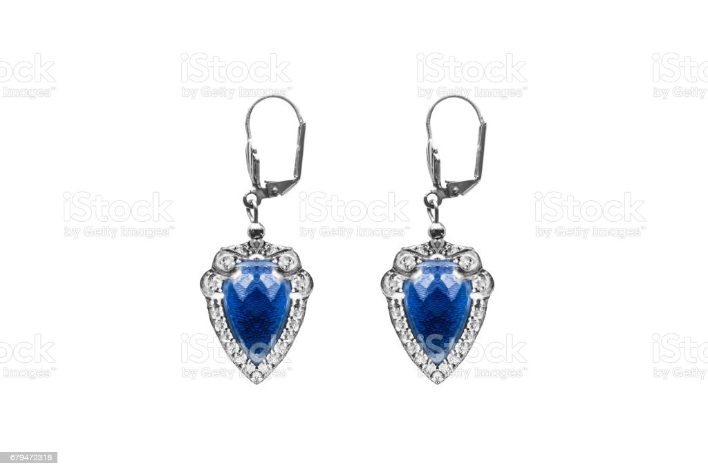Sapphire earrings isolated royalty-free stock photo