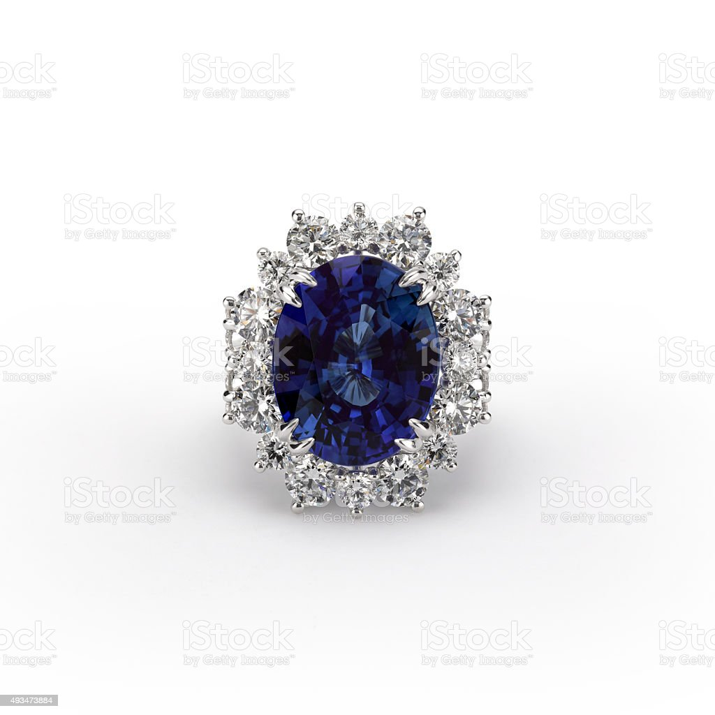 Sapphire Engagement Ring with Diamonds stock photo