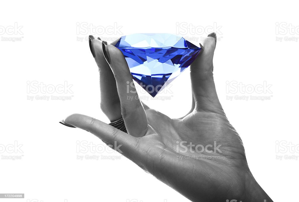 Sapphire in Hand royalty-free stock photo