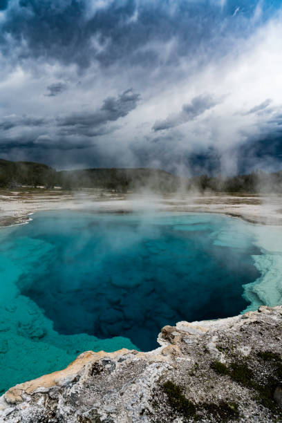 Sapphire Pool, Thermal Springs, Yellowstone National Park stock photo