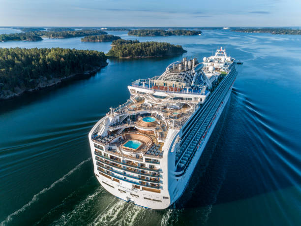 Sapphire Princess Cruiser Ship passing by in the Stockholm Swedish archipelago stock photo