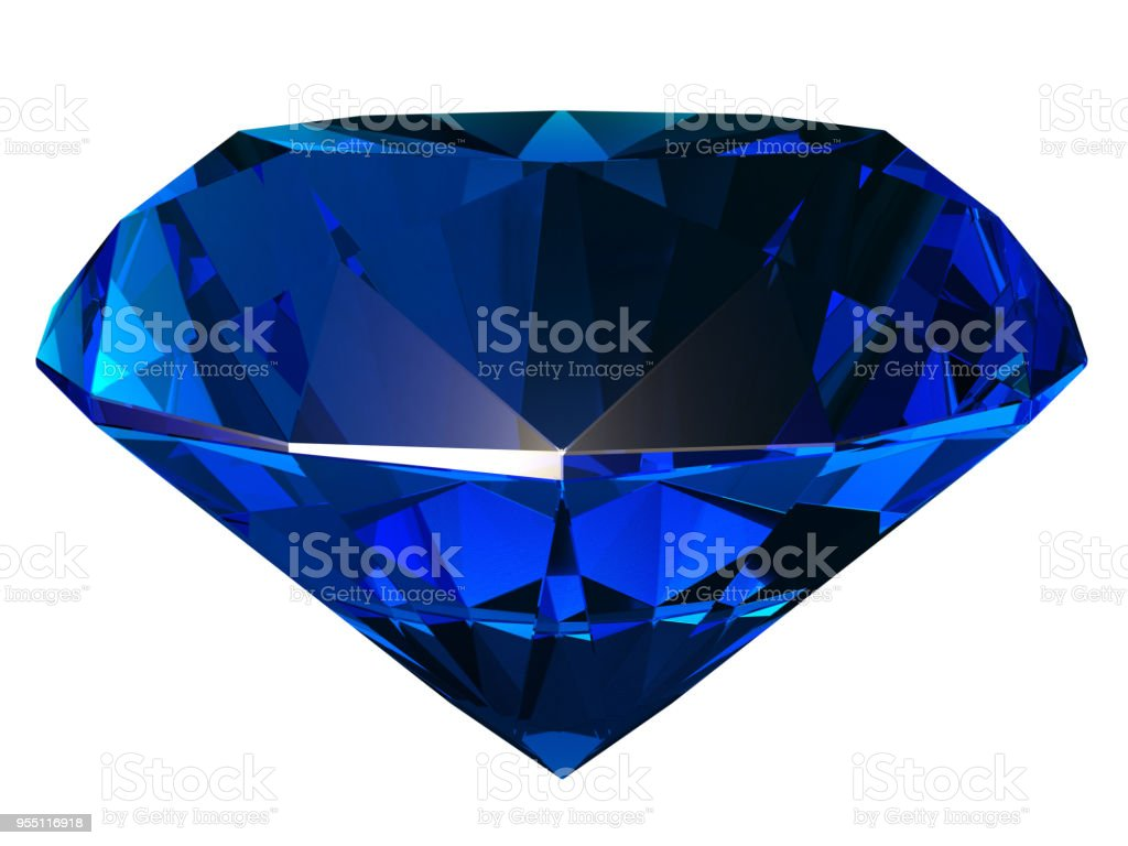 Sapphire side view 3D illustration stock photo