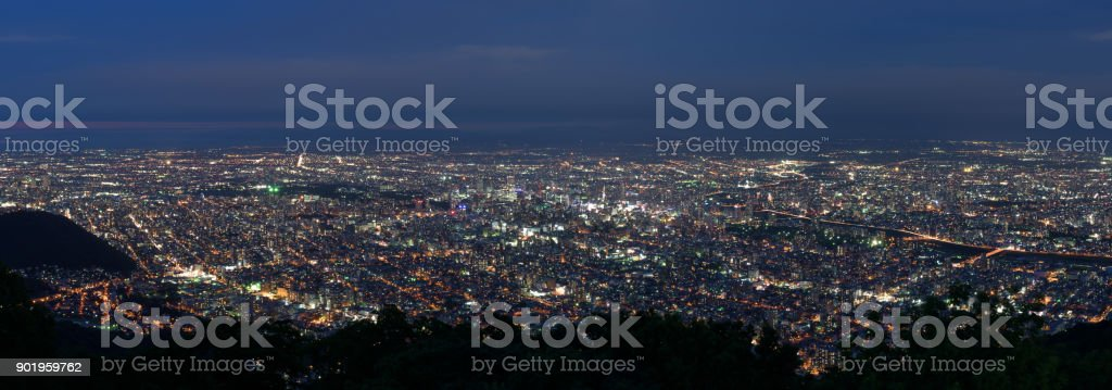 Sapporo city night view from Mount Moiwa stock photo