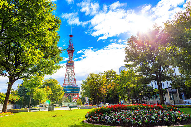 sapporo, japan -  9 september 2016 - television tower - sapporo stock photos and pictures