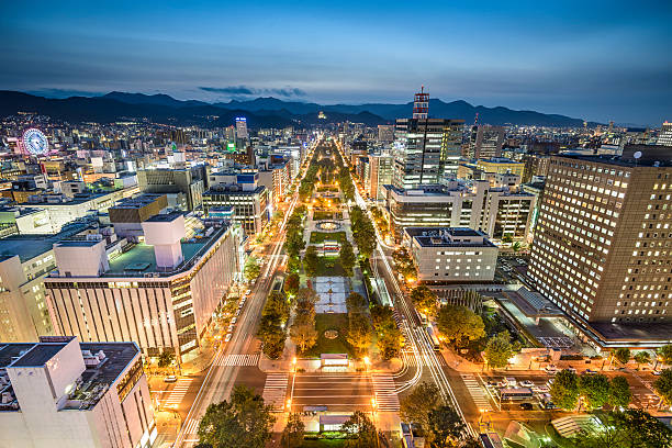 sapporo, japan city skyline - sapporo stock photos and pictures