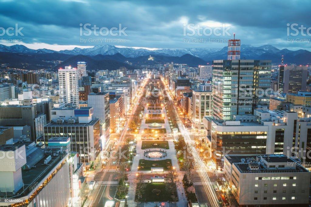Sapporo Night View from Sapporo TV Tower in Sapporo City, Hokkaido, Japan. stock photo