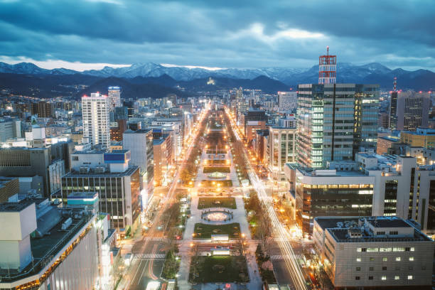 Sapporo Night View from Sapporo TV Tower in Sapporo City, Hokkaido, Japan. stock photo