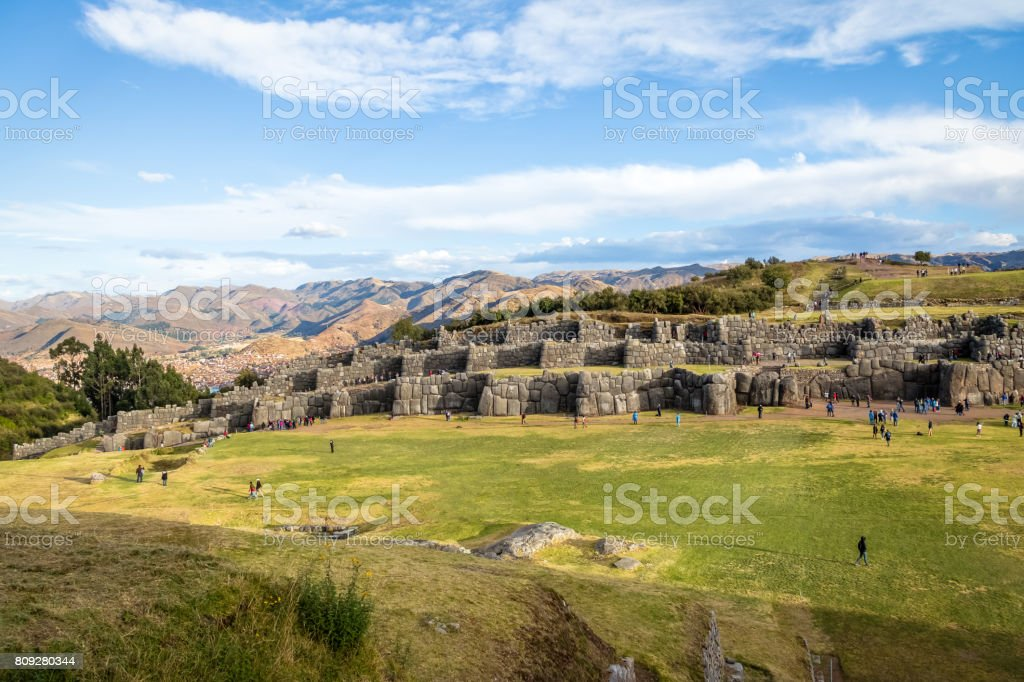 Saqsaywaman or Sacsayhuaman Inca Ruins - Cusco, Peru stock photo