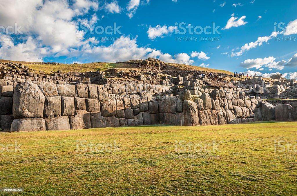 Saqsaywaman ruins in Cusco Peru stock photo