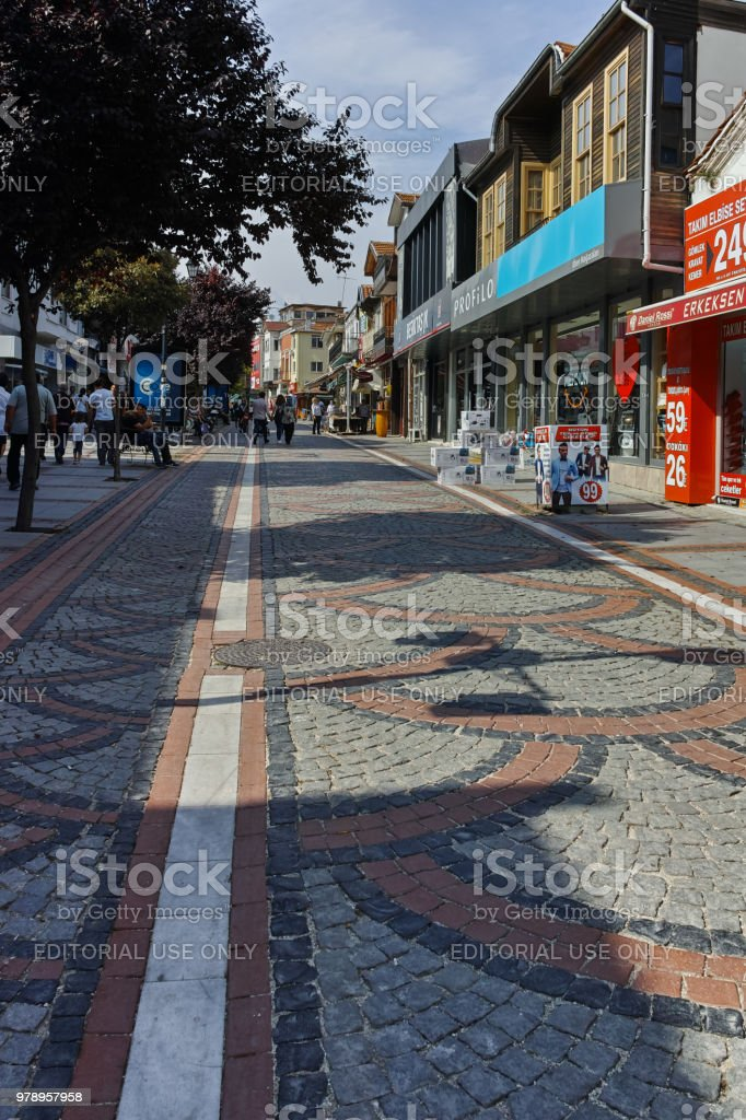 Saraclar Caddesi shopping  street in the center of city of Edirne,  East Thrace, Turkey stock photo