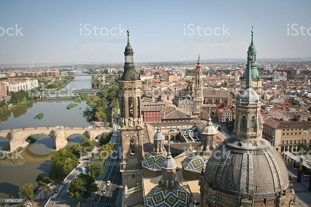Saragossa Zaragoza Aragon Cathedral Skyline Cityview Basque Country Spain stock photo