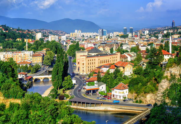 Sarajevo city, capital of Bosnia and Herzegovina Aerial view of Sarajevo, the capital of Bosnia and Herzegovina, with Latin Bridge, Miljacka River, National Library and the modern city former yugoslavia stock pictures, royalty-free photos & images