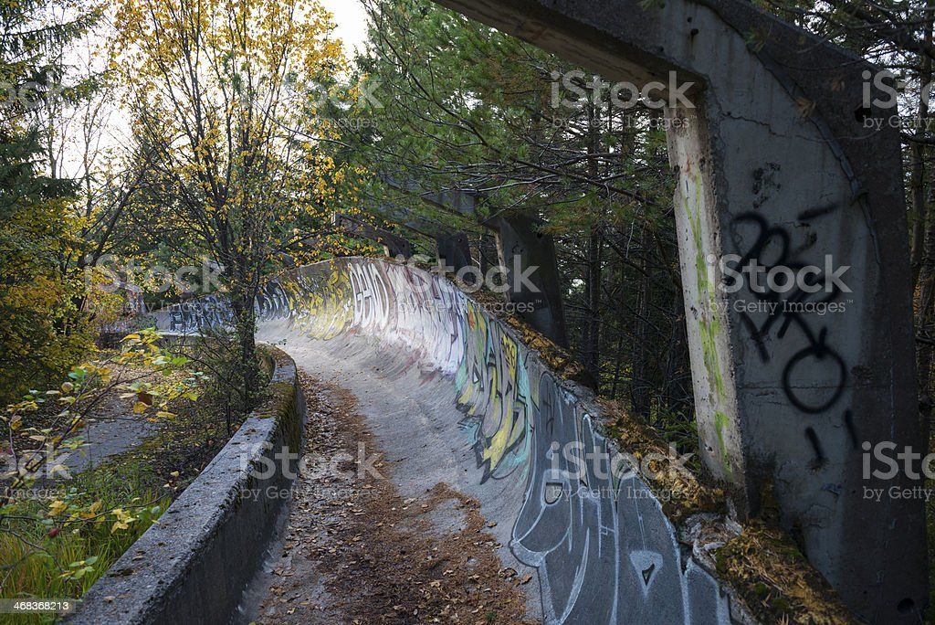 Sarajevo Winter Olympics bobsled and luge track stock photo
