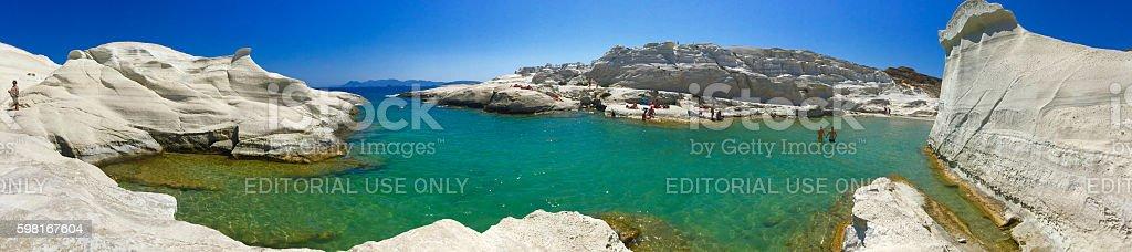 Sarakiniko beach in Milos stock photo