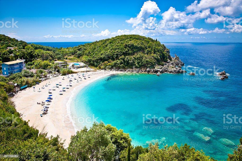 Sarakiniko beach. near Parga , Greece. stock photo