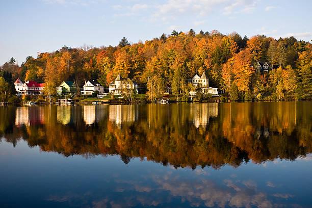 Saranac Lake Reflection stock photo