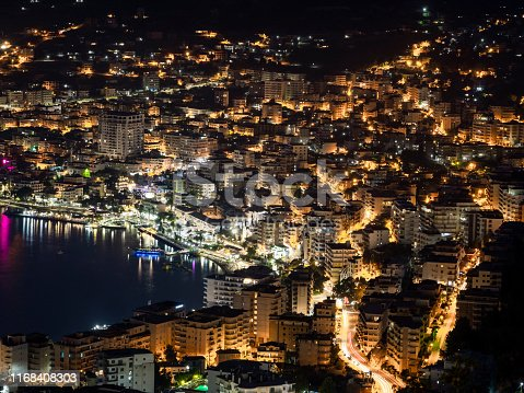 Aerial view of Saranda night city lights