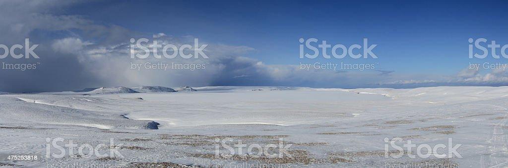 Sarannoe frozen lake on Bering Island day stock photo
