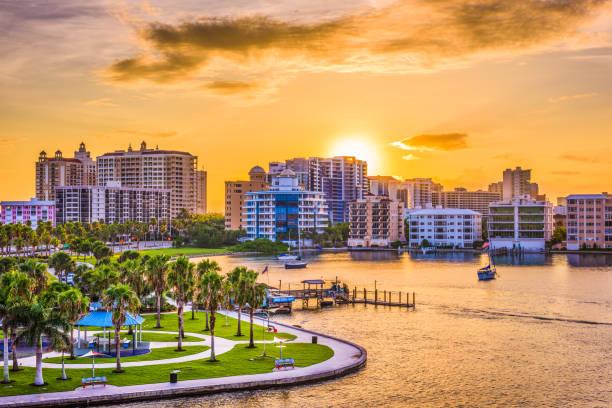 Sarasota, Florida, USA Sarasota, Florida, USA downtown skyline on the bay. bay of water stock pictures, royalty-free photos & images