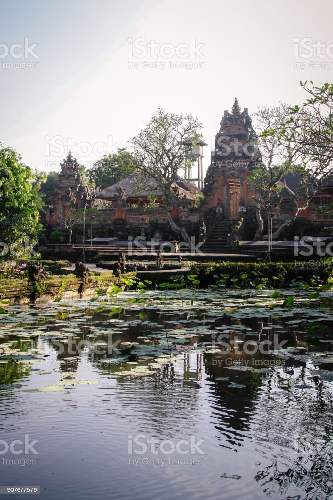 Saraswati Temple in Ubud Bali with Pond stock photo